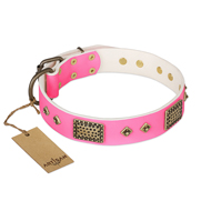 FDT Artisanの「Vintage Style」という革製首輪 ピンク 手作り 犬 ネームタグ付き